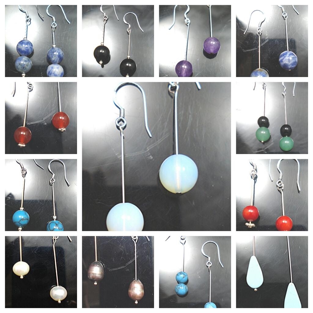 Jewellery, Sterling silver and gem earrings.