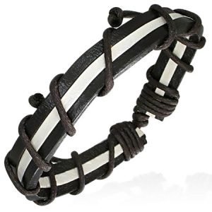 Leather Black White Stripe Bracelet