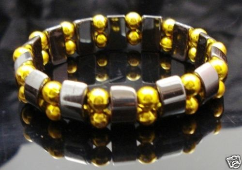 Hematite-Gem-Acrylic-Beaded-Stretch-Bracelet-Bangle-NEW-400068390044
