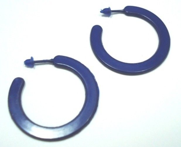 Hoop-Plastic-Blue-Jewellery-Earrings-38-mm-Round-NEW-400178139851