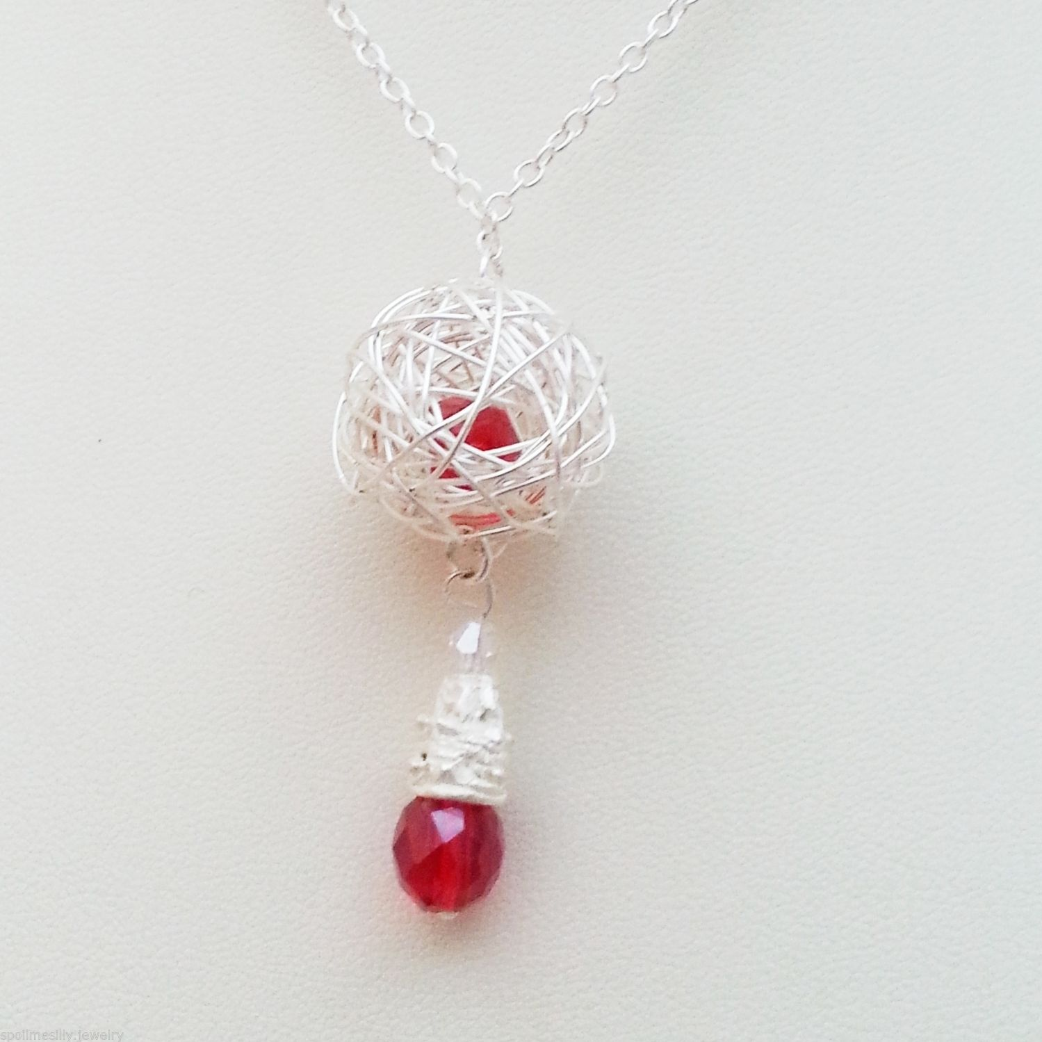 Jewellery-16-18-Red-Faceted-Glass-Bead-Hand-Made-Silver-Wire-Necklace-Woman-New-161364022908-4