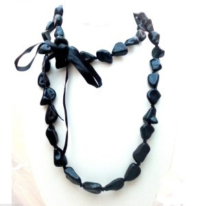 Jewellery-Resin-Extra-Long-48-Black-Necklace-Large-Bracelet-Anklet-Ribbon-New-161363922965
