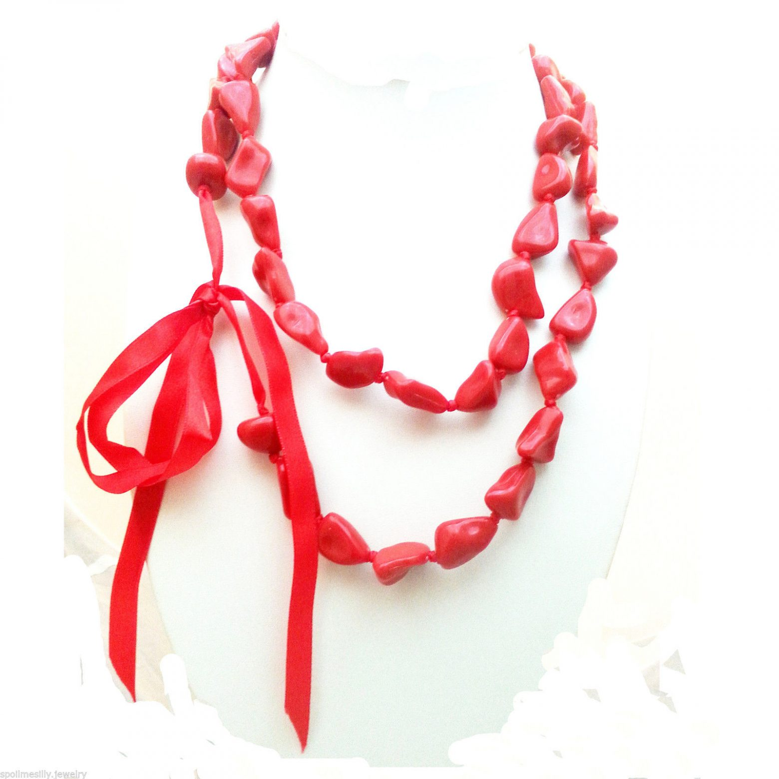 Jewellery-Resin-Extra-Long-48-Red-Necklace-Large-Bracelet-Anklet-Ribbon-New-400740944699-3