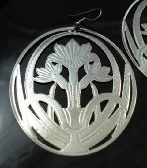 Large-Round-Modern-Metal-Silver-Flower-Earring-Pair-NEW-400068741658-2