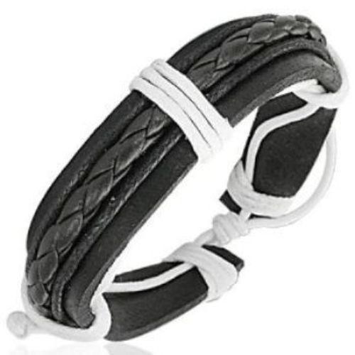 Leather-Cord-Mens-Womens-Handmade-Bracelet-Black-NEW-400131158023