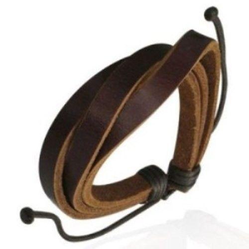 Leather-Mens-Womens-Handmade-Bracelet-Bangle-brown-NEW-150380015060
