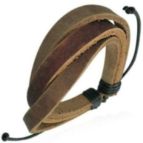 Leather-Mens-Womens-Handmade-Bracelet-Brown-NEW-400068031438