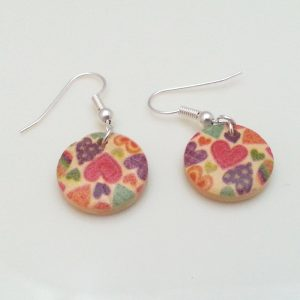 Light-Wooden-Jewellery-Earrings-Dangle-Disc-Round-Wood-Coloured-Hearts-New-400739839834-2