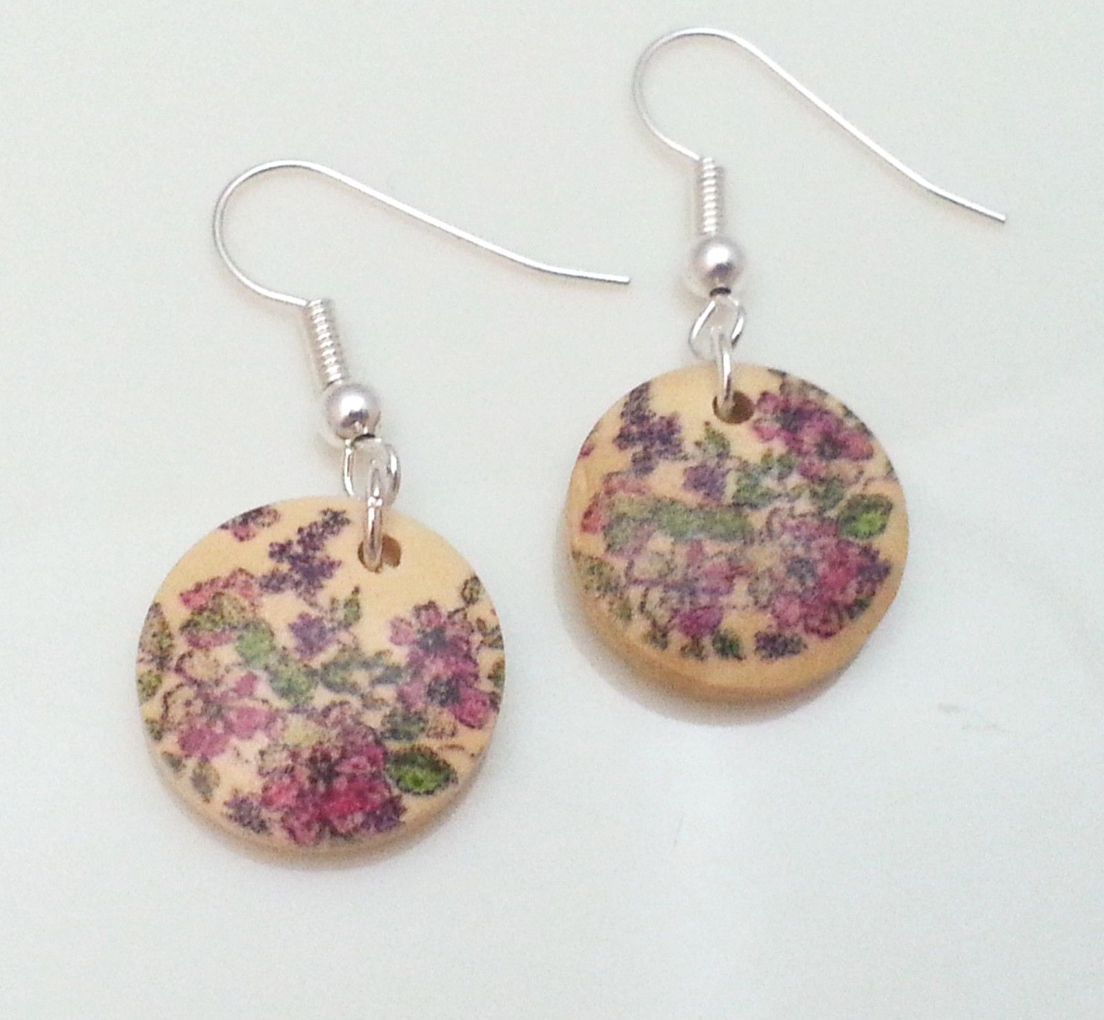 Light-Wooden-Jewellery-Earrings-Dangle-Disc-Round-Wood-Pink-Floral-Flowers-New-161361899000-2