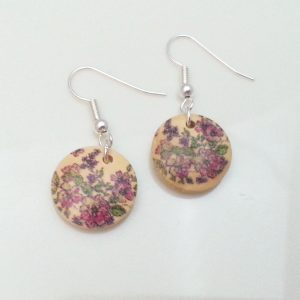 Light-Wooden-Jewellery-Earrings-Dangle-Disc-Round-Wood-Pink-Floral-Flowers-New-161361899000