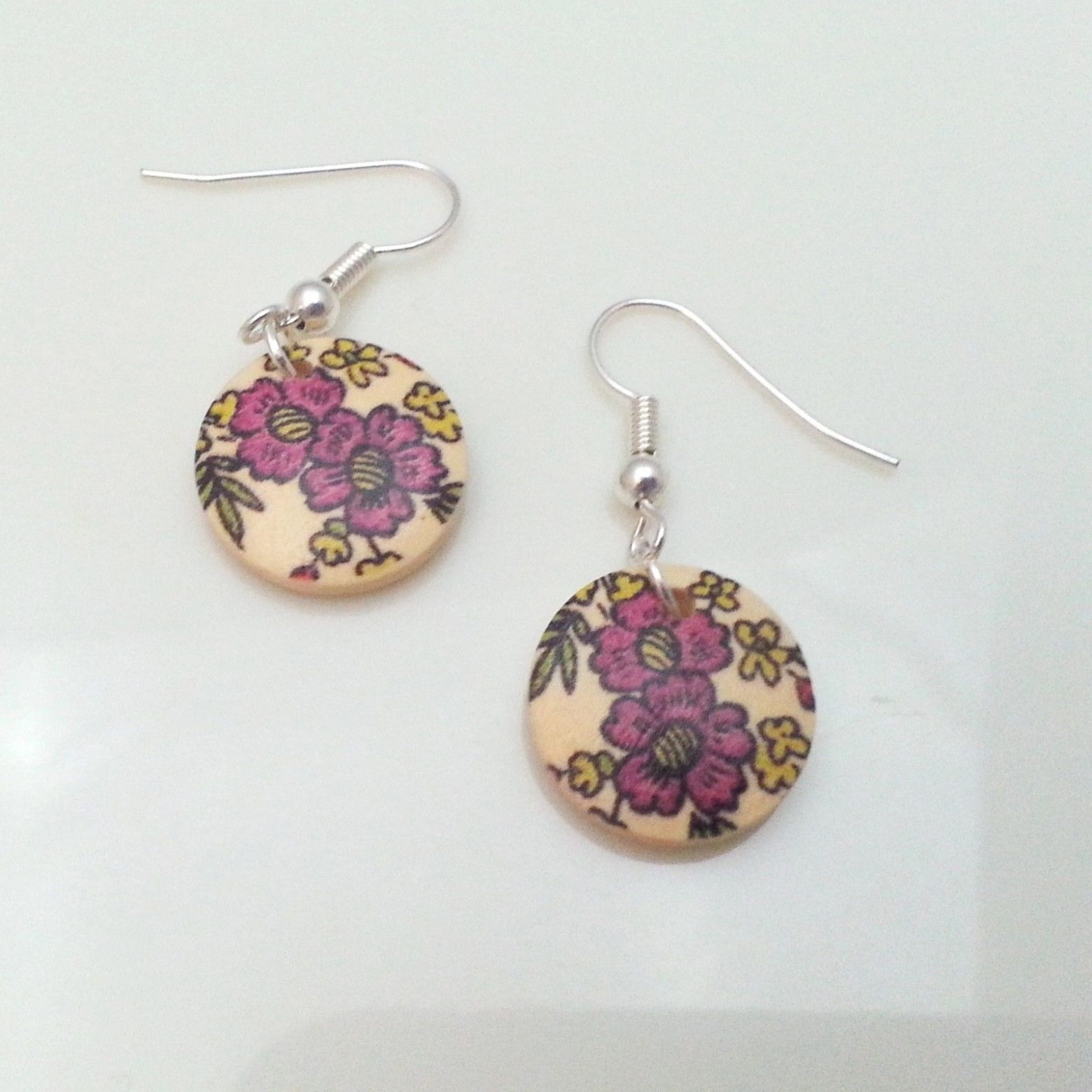 Light-Wooden-Jewellery-Earrings-Disc-Round-Wood-Pink-Flowers-Leaves-Womens-New-161361899276-2