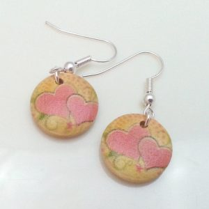 Light-Wooden-Jewellery-Earrings-Disc-Round-Wood-Pink-Hearts-Flowers-Womens-New-400739840145-2