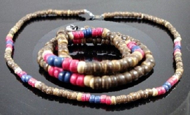 NEW-MENS-WOMENS-BEADED-WOOD-COCO-SURF-WOODEN-NECKLACE-310110545538