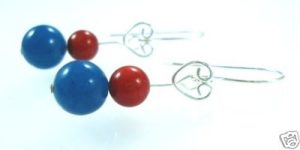STERLING-SILVER-925-CORAL-TEAL-BEADED-GEM-EARRINGS-NEW-400091507451