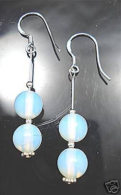 STERLING-SILVER-925-OPALITE-BEADED-GEM-EARRINGS-NEW-400057943123