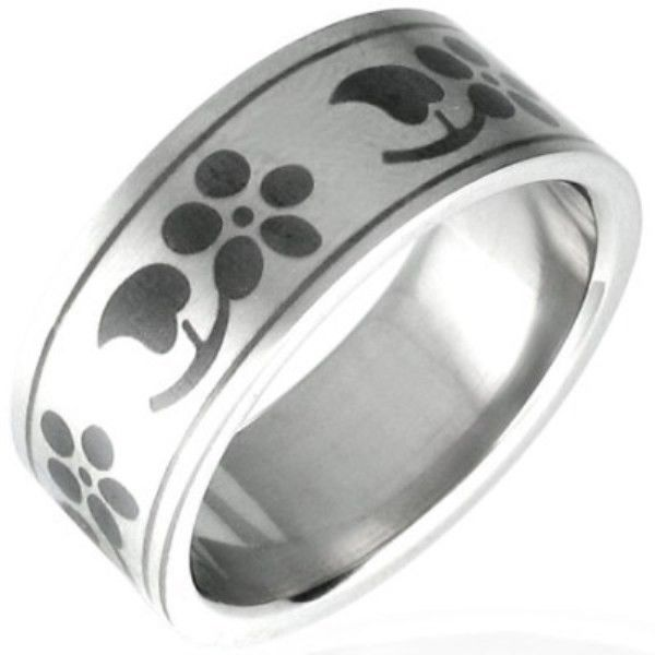 Stainless-Steel-BLACK-Flower-WOMAN-Unisex-Size-Ring-NEW-400482749402