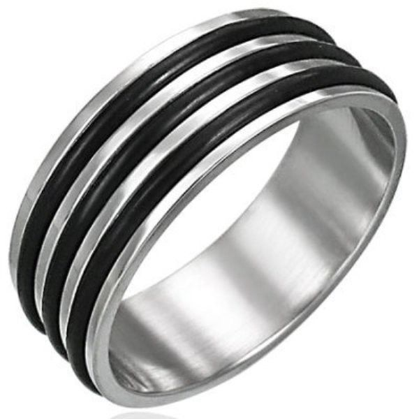 Stainless-Steel-RUBBER-RING-UNISEX-Mans-or-Womans-Ring-NEW-400482738381