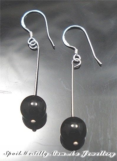 Sterling-Silver-925-Black-Onyx-Beaded-Gemstone-Jewellery-Earrings-NEW-400614849469