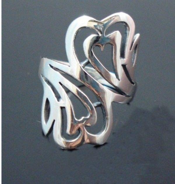 Sterling-Silver-925-Size-6-L-12-Boho-Swirl-HEART-Ring-400053508103-6