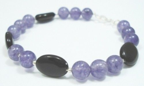 Sterling-Silver-Onyx-Amethyst-Gem-Stone-Bangle-Bracelet-150524826526