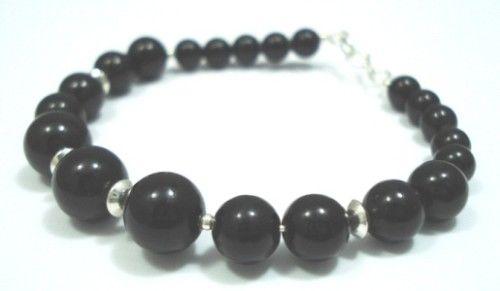 Sterling-Silver-Onyx-Jewelry-Gem-Stone-Bangle-Bracelet-150524826512
